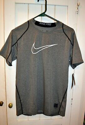 Boys XL Nike Pro Combat Dri Fit T Shirt Fitted Training Gray Athletic NWT