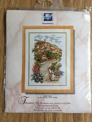 Vervaco 14 Count Cross Stitch Kit Mediterranean Houses Flowers 26 x 37 cm Crafts