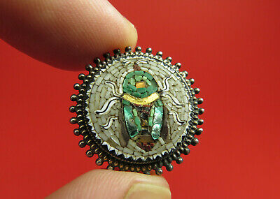 Antique Victorian Silver Mounted Micro Mosaic Beetle Brooch ~ Grand Tour Italy