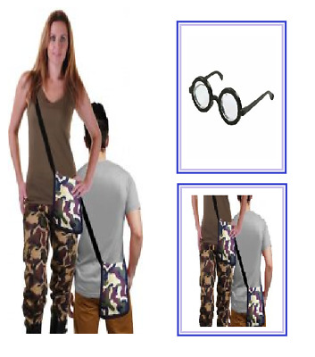 ADULTS Unisex Army Shoulder Camouflage Bag Pouch & Nerd Glasses Theme COSTUME