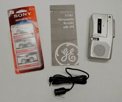 GE AVR 3-5383A Voice Activated Dictation Micro Cassette Recorder Bundle