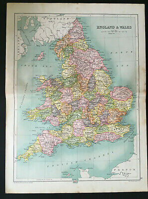 Antique Map Of England & Wales 1910 John Bartholomew & Co