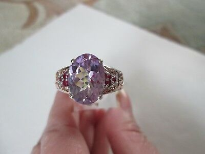 Rose De France Amethyst RG and Sterling Silver Ring (Size 10) TGW 5.70 cts.