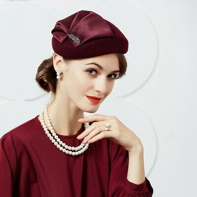 Ladies Felt Wool Fascinator Pillbox Wedding Bridal Beret Hat Headpiece CK018