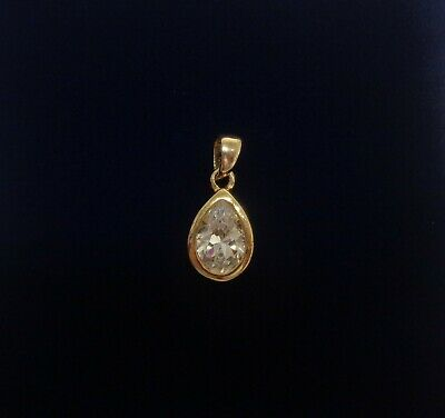 Fine Cubic Zirconia Pear Pendant 9ct Yellow Gold - Length 18 mm - 1.3 grams