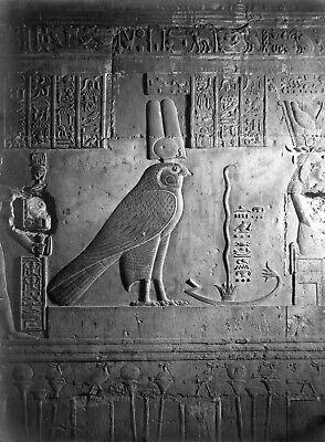 EGYPT VINTAGE PHOTO. Inscriptions on the walls of Pharaonic temples 1940 S