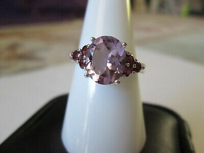 Rose De France Amethyst Platinum over Sterling Silver Ring (Size 9) TGW 2.89 cts