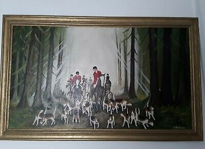 Original Hunt Painting Oil with Silver Wooden Frame