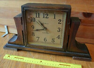 Gilbert Electric Mantle Clock Vintage wooden square shape Made in USA Working