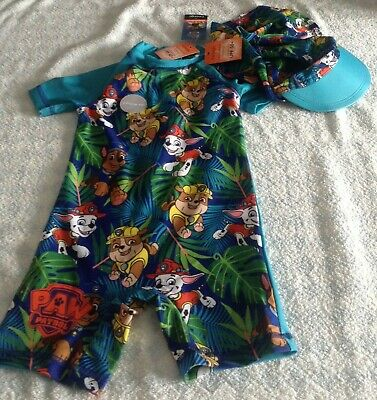 baby boys paw patrol 40+ uv swimsuit surfsuit + 50+ hat blue 12-18/18-24 NEW