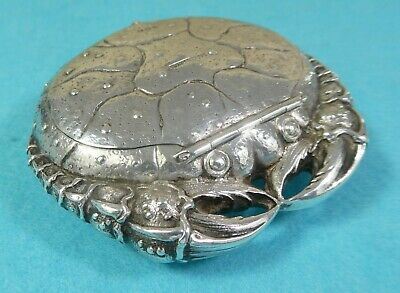 Rare Sterling Silver Novelty Box Crab Fine Chased Both Sides Import London 1902