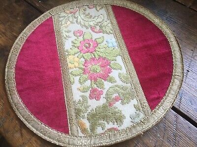 Antique Vintage Round Velvet Doily with French Metal Thread Trim Edging Gimp