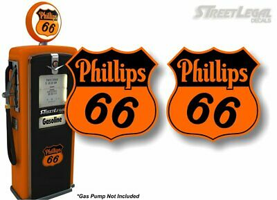 2 Phillips 66 Gasoline Vintage Gas Pump Decals Gas Station Pumps Sign Stickers