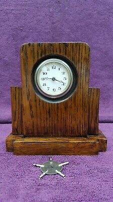 Vintage Antique German Art Deco Fusee Mantel Desk Clock Working c1930