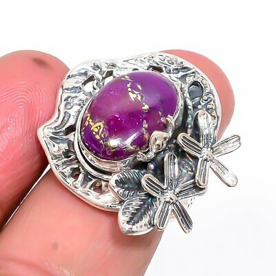 Copper Mohave Purple Turquoise Little Silver Frog Ring 7.5 (1)