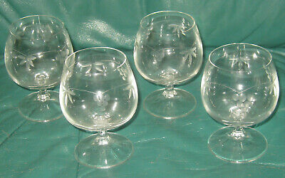 Etched Glass Cut Glass 4 Footed Cordials Vintage