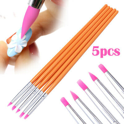 5pcs/Set Silicone Head Painting Drawing Carving Sculpture Nail Art Brushes Pen