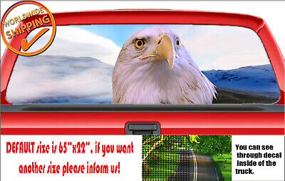 BALD EAGLE BLACK and White Flying Rear Window Decal Graphic