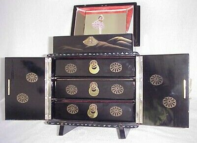 Vtg. Japanese 2-Tier Black Lacquer Inlaid Shell Musical Jewelry Chest 3 Drawers