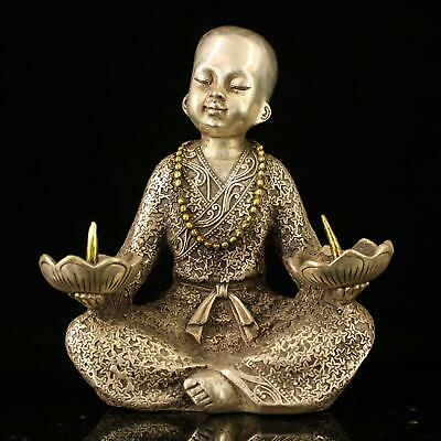china old Copper plating silver handmade gold drawing boy candlestickstatue e01E