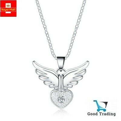 925 Sterling Silver Angel Wing Heart Crystal Gem Pendant Necklace Sent in Pouch