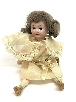 """Antique Nice 6"""" Bisque Jointed German Doll Glass Eyes Mignonette/Dollhouse 14/0"""