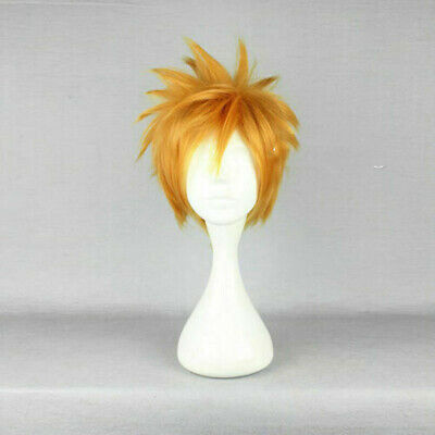 30CM Anime Short Golden Blonde Layered Bangs Men Halloween Party Cosplay Wig+Cap