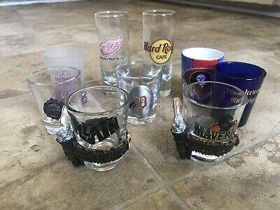Lot Of 9 Unique Souvenir Collection Shot Glasses. Never Used, Just Collected