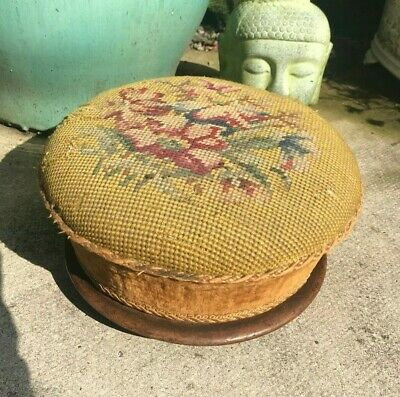 Antique Victorian Tapestry Style Needlepoint Embroidered Footstool