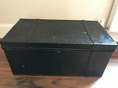 "Vintage Mid Century Black Military Metal Trunk 77 cm x 41.5 cm/ 30.3"" x 16.3"""