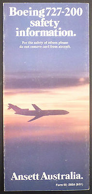 Ansett Australia Boeing 727-200 Safety Card Airline Folleto Brochure Ee e199