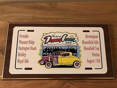 2002 Woodward Dream Cruise Wooden Plaque Ferndale Royal Oak Berkley 14.5x8