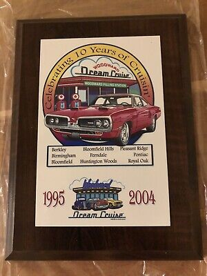 2004 Woodward Dream Cruise Wooden Plaque 10 Years Ferndale Royal Oak Berkley 6x8