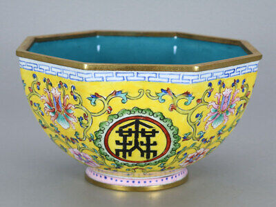 Chinese Exquisite Handmade flowers copper Enamel bowl