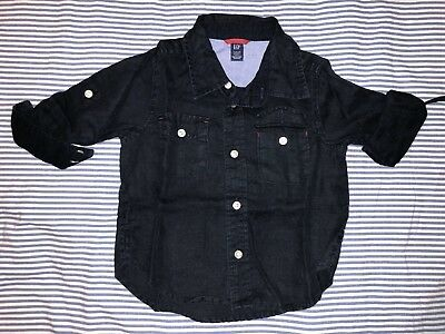 Baby Gap Boys Navy Cotton Linen Button Down Shirt 2 Years SELLING TONS! Top Tee