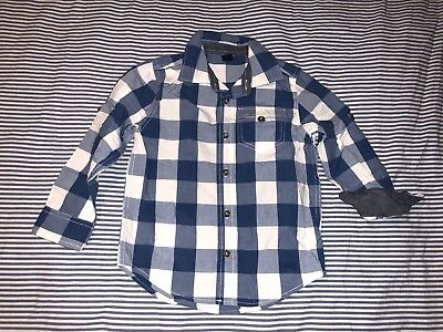Baby Gap Boys Nautical Blue White Checkers Button Down Shirt 5 Years SELLING TON