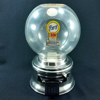 Ford Gumball Machine 10 Cent Plastic Globe Bulk Vending Candy E2 Coin OP