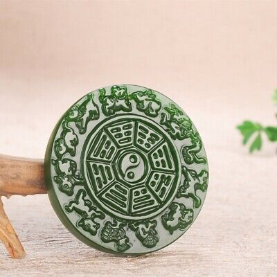 5cm China 100% Natural handcarved green jade Chinese Zodiac Amulet Pendant