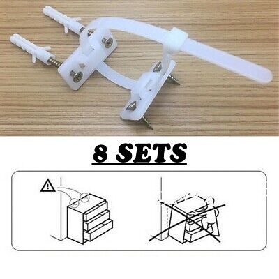 8 Pack Furniture Brackets Anti Tip Furniture Safety Wall Straps Baby Child Kids