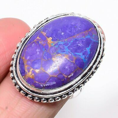 Copper Purple Turquoise Vintage 925 Sterling Silver Ring 7