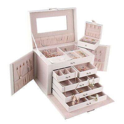 Large Jewellery Box Storage Organiser Necklace Rings Earring Display Travel Case