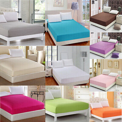 US STOCK Fitted Bed Sheets Polyester Cotton Single Double King Super King Size