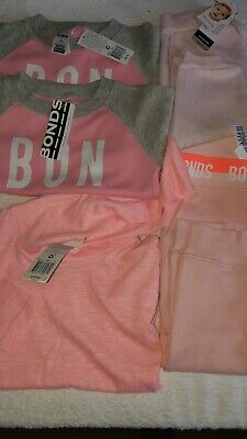Bonds PinkTrack Pants +Track suit Jumpers+ L/S Hooded top. 5 items RRP $130 BNWT