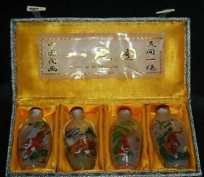 Estate - VINTAGE SET OF 4 CRYSTAL INSIDE HAND PAINTED SNUFF BOTTLE - EIGHT TIGER
