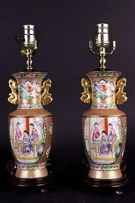 Pair Of Rose Medallion Canton Vases
