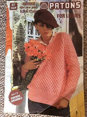 Vintage Patons Knitting Pattern Book 617 Patons For Ladies 5, 8, & 12 Ply