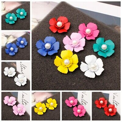 1 Pair Lady Fashion Colorful Resin Pearl Flower Petals Ear Stud Jewelry Earring