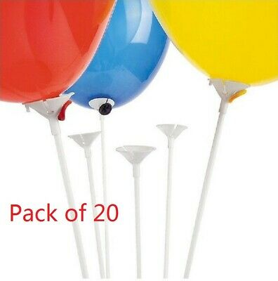 Pack of20 White Balloon holder Sticks and Cup. Party Wedding Decoration Supplies
