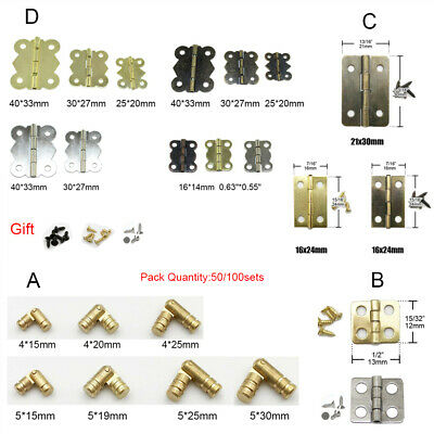 Jewelry Gift Furniture Wine Box Wood Cabinet Door Brass Metal Butt Hinge Screw