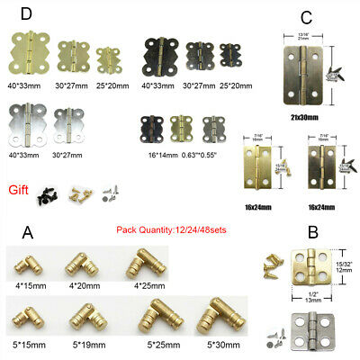 Jewelry Gift Hardware Wine Box Wood Cabinet Door Brass Metal Butt Hinge Screw